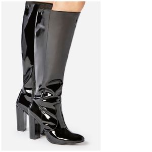 Brand New Patent Leather Knee High Heeled Boots